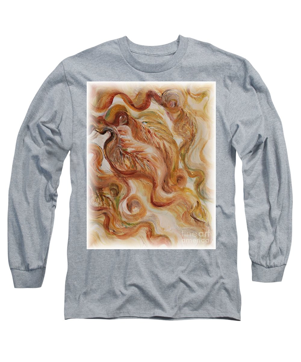 Leaves Long Sleeve T-Shirt featuring the painting Reflective Leaves by Nadine Rippelmeyer