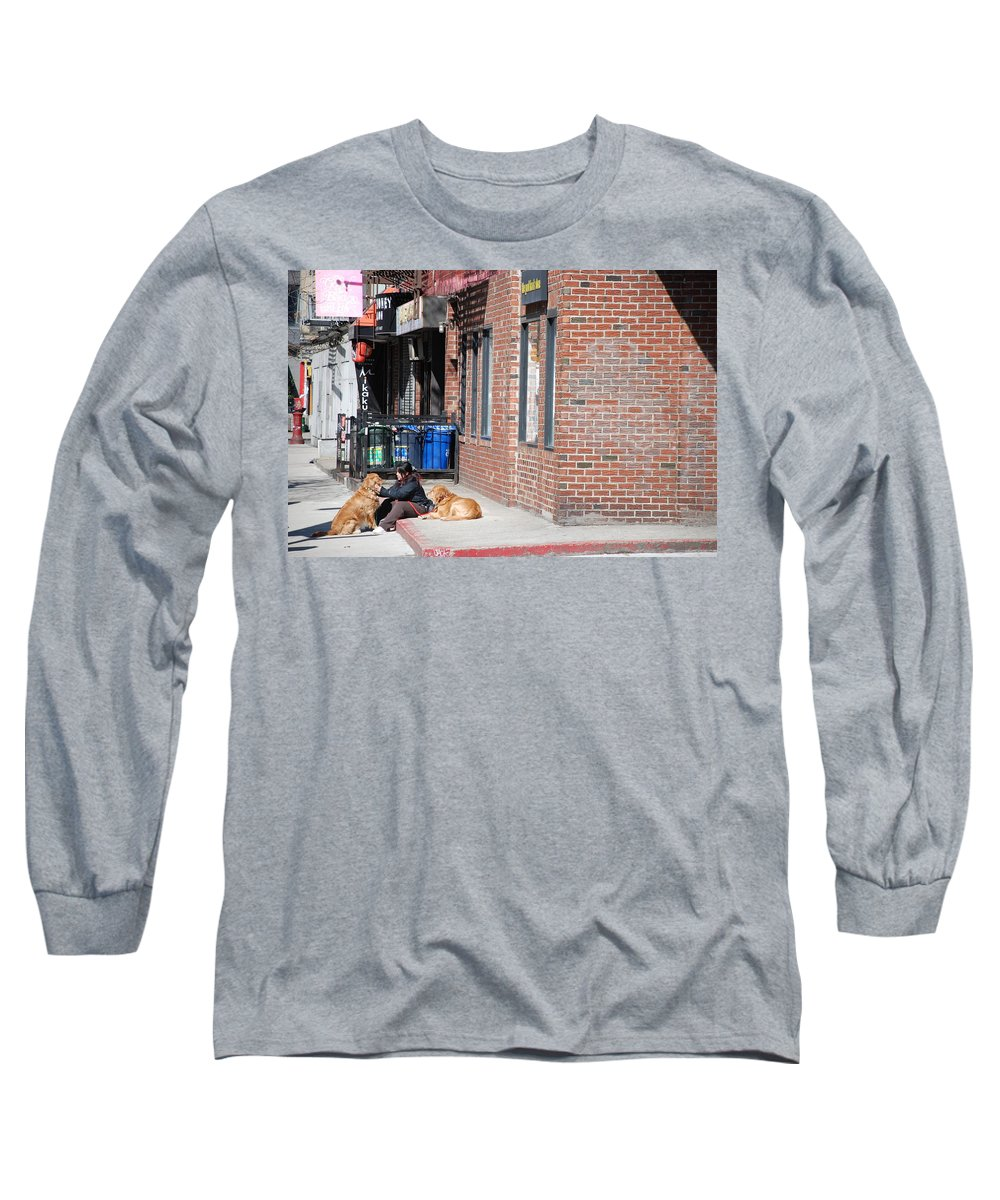 Girl Long Sleeve T-Shirt featuring the photograph Resting On The Corner by Rob Hans