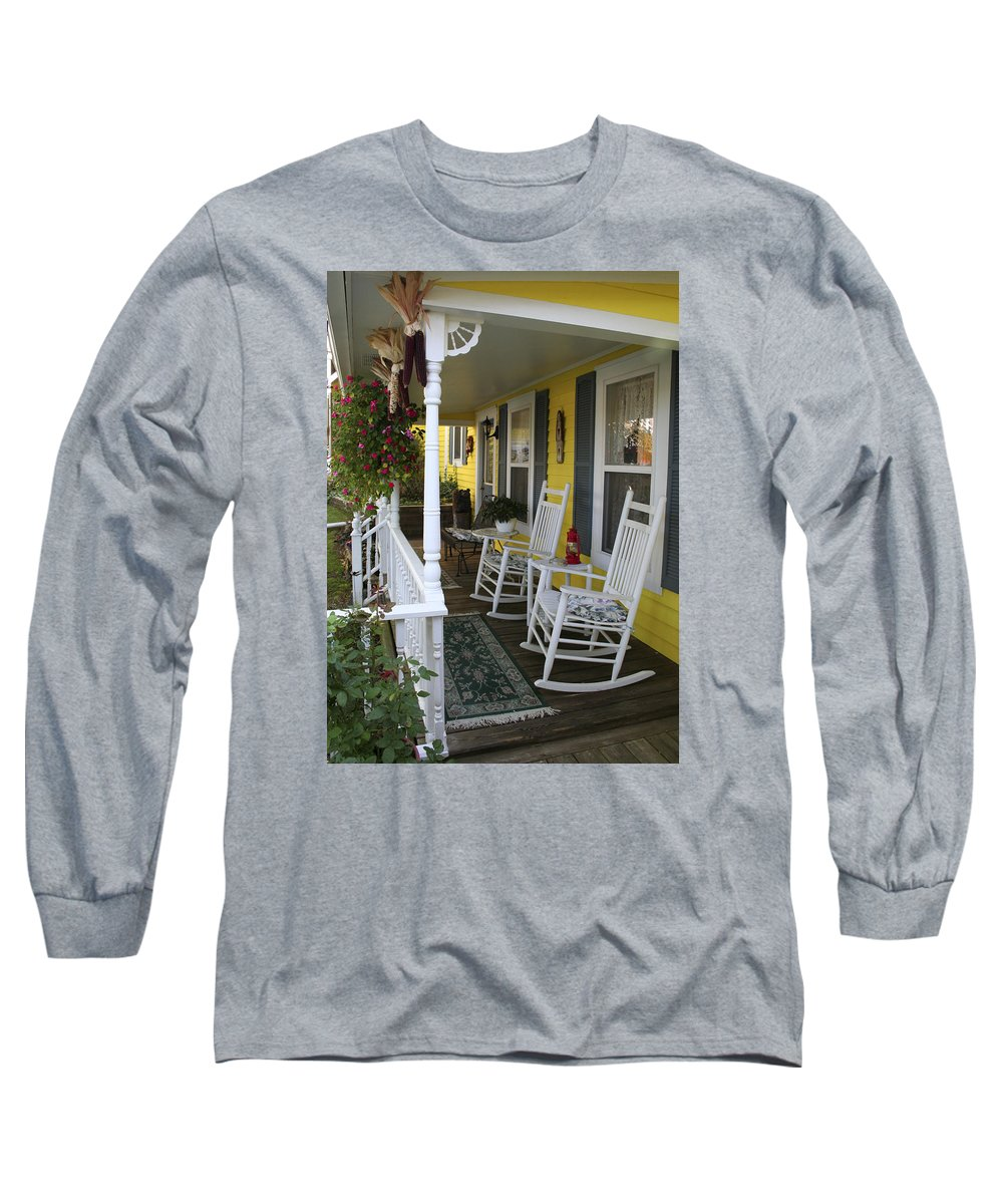 Rocking Chair Long Sleeve T-Shirt featuring the photograph Rockers On The Porch by Margie Wildblood