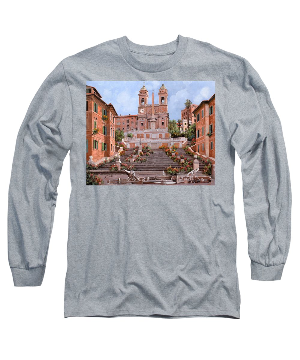Rome Long Sleeve T-Shirt featuring the painting Rome-piazza Di Spagna by Guido Borelli