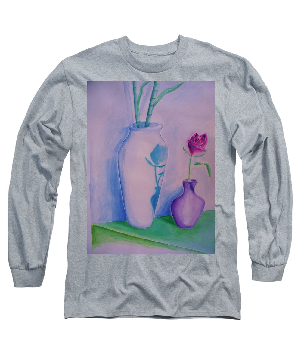 Red Rose Long Sleeve T-Shirt featuring the painting Roses In Vase by Eric Schiabor