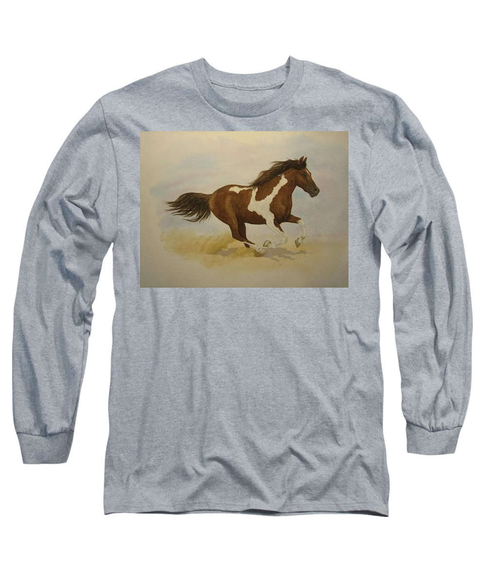 Paint Horse Long Sleeve T-Shirt featuring the painting Running Paint by Jeff Lucas