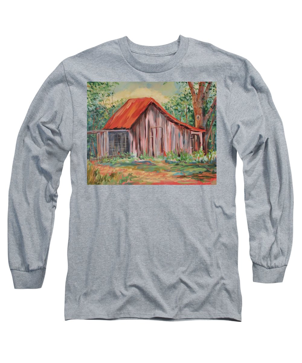 Chicken Coops Long Sleeve T-Shirt featuring the painting Russel Crow by Ginger Concepcion
