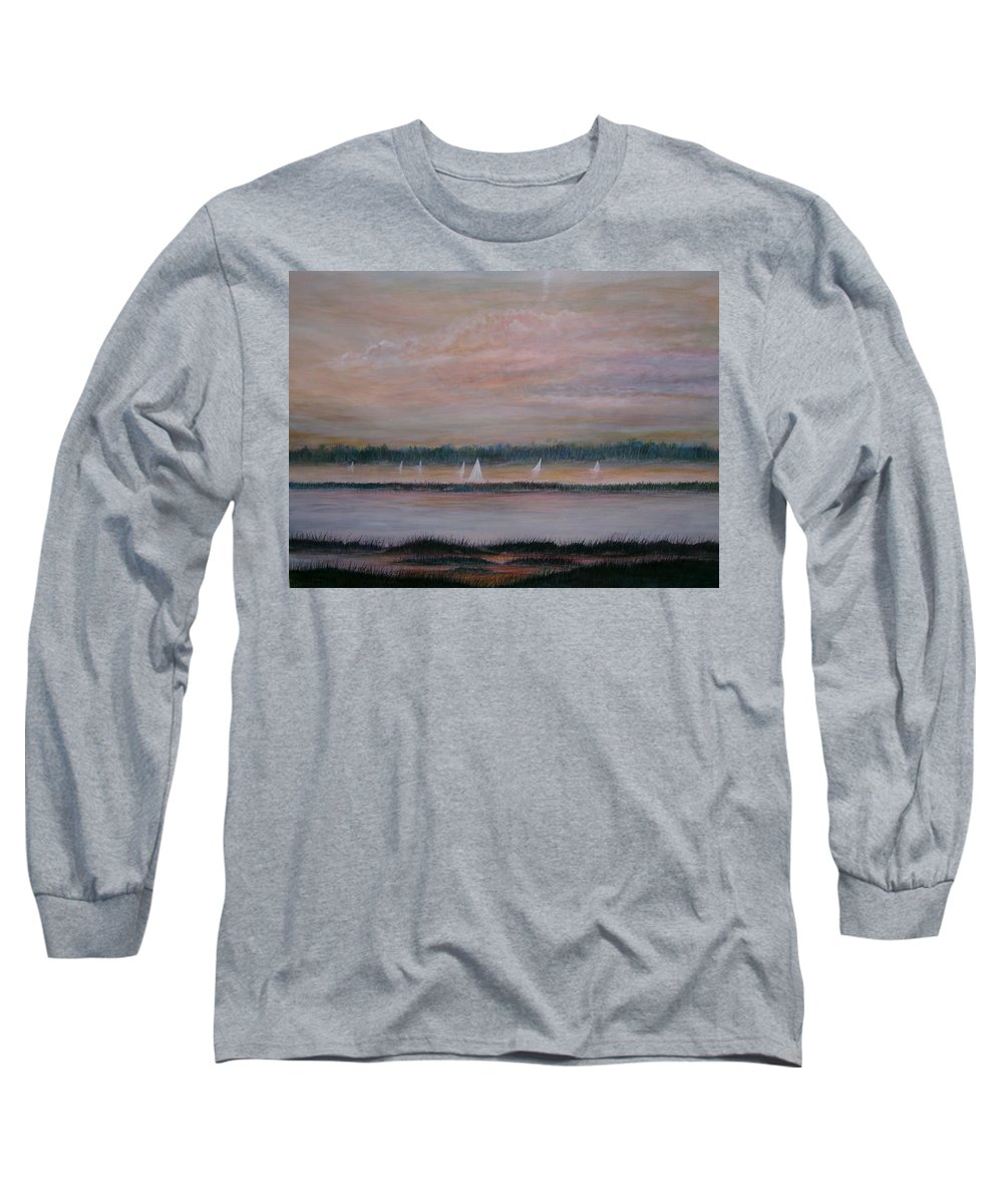 Sailboats; Marsh; Sunset Long Sleeve T-Shirt featuring the painting Sails In The Sunset by Ben Kiger