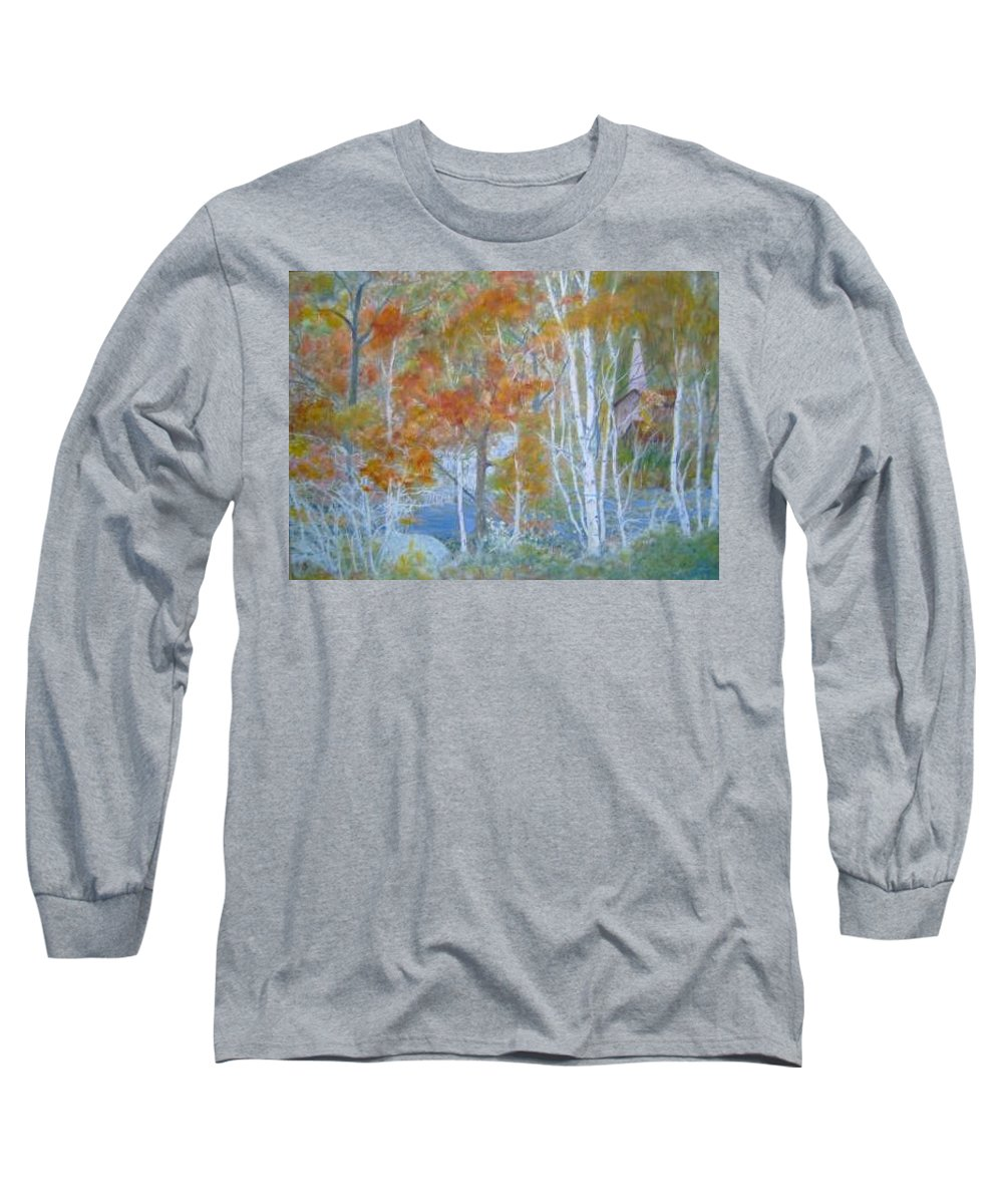 Church; Landscape; Birch Trees Long Sleeve T-Shirt featuring the painting Sanctuary by Ben Kiger