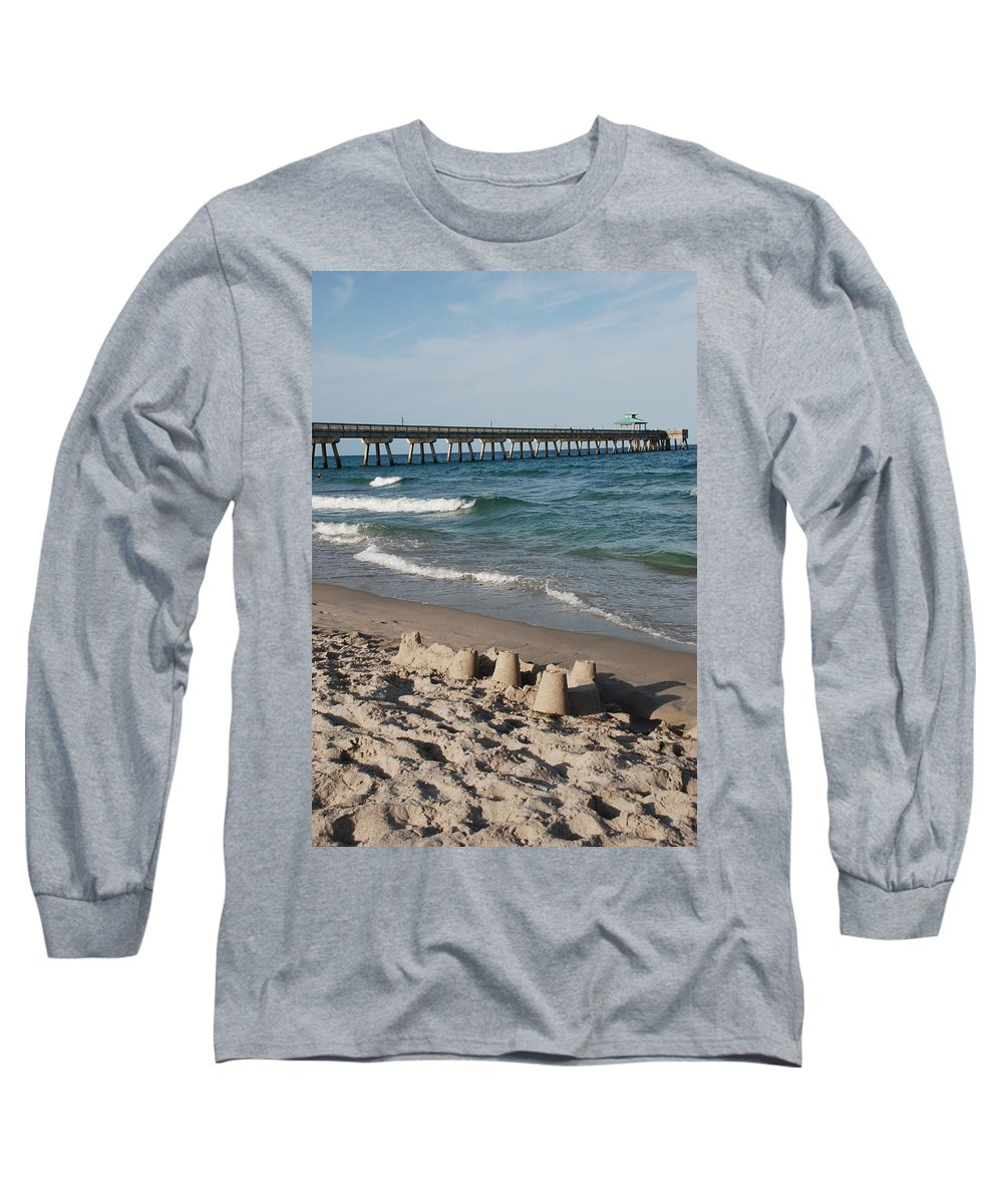 Sea Scape Long Sleeve T-Shirt featuring the photograph Sand Castles And Piers by Rob Hans