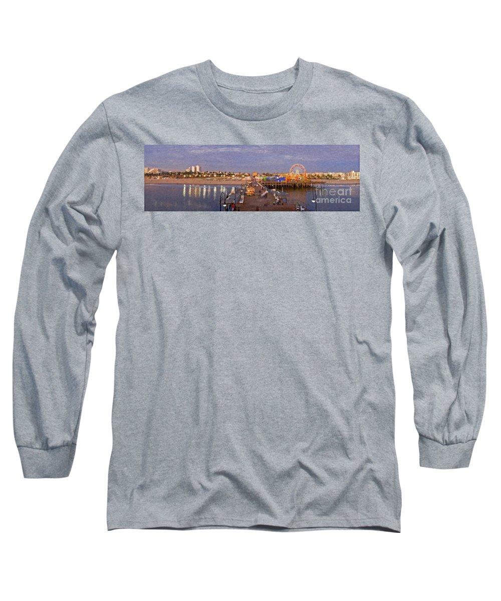 Santa Monica Pacific Park Pier Sunset Panoramic Long Sleeve T-Shirt featuring the photograph Santa Monica Pacific Park Pier Skyline Panoramic by David Zanzinger