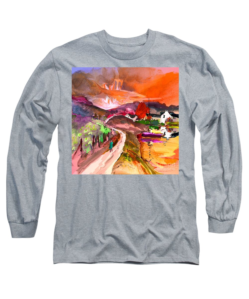 Scotland Paintings Long Sleeve T-Shirt featuring the painting Scotland 02 by Miki De Goodaboom