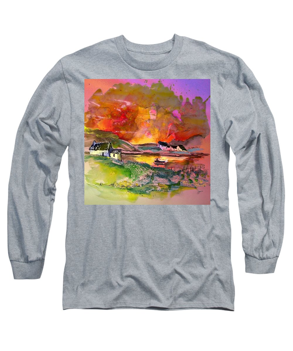 Scotland Paintings Long Sleeve T-Shirt featuring the painting Scotland 07 by Miki De Goodaboom