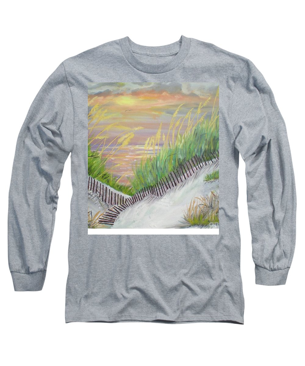 Seascape Long Sleeve T-Shirt featuring the painting Sea Oats by Hal Newhouser