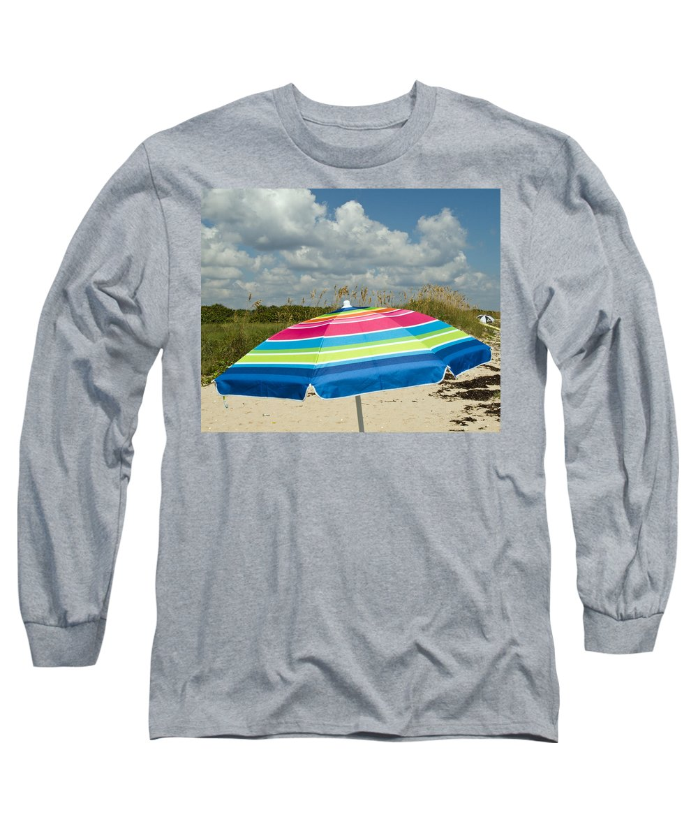 Florida; Beach; Coast; Shore; Atlantic; East; Waves; Sand; Dunes; Sea; Oats; Seaoats; Plant; Grass; Long Sleeve T-Shirt featuring the photograph Sea Oats On The Beach by Allan Hughes