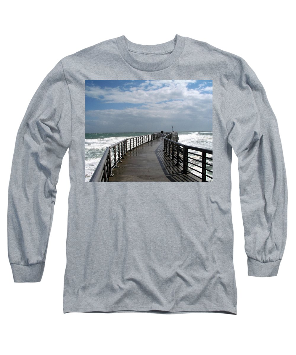 Walk; Solitary; Lonely; Sebastian; Inlet; Florida; Sea; Ocean; Water; Surf; Atlantic; Jetty; Waves; Long Sleeve T-Shirt featuring the photograph Sebastian Inlet On The Atlantic Coast Of Florida by Allan Hughes