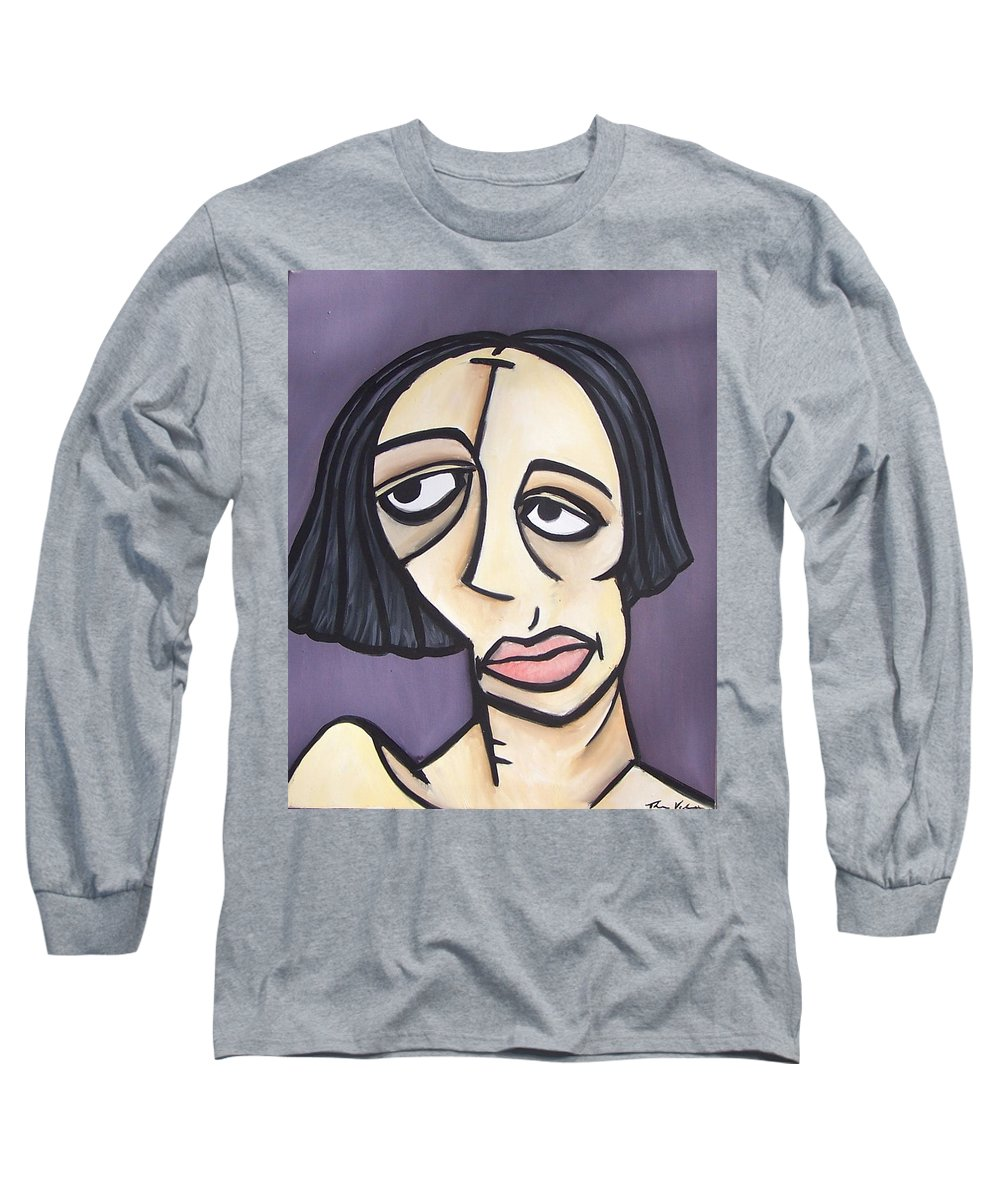 Nude Long Sleeve T-Shirt featuring the painting Second Vanessa by Thomas Valentine