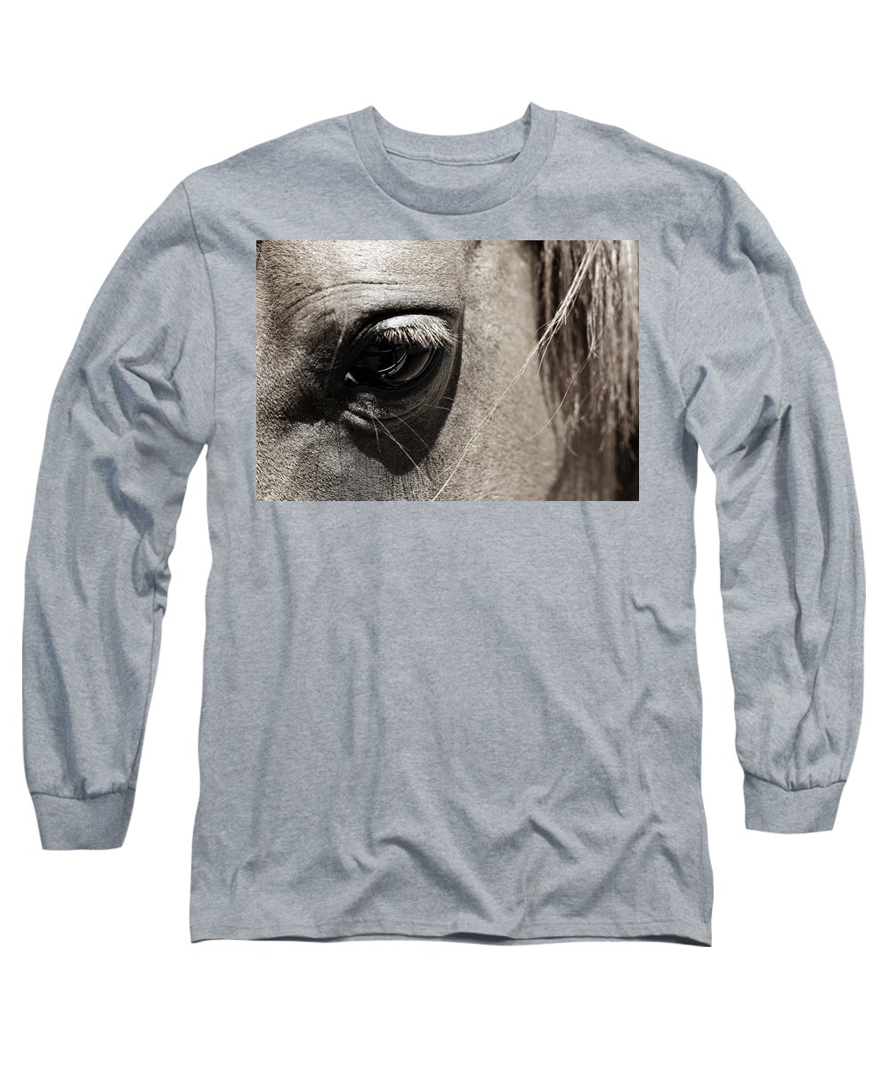 Americana Long Sleeve T-Shirt featuring the photograph Stillness In The Eye Of A Horse by Marilyn Hunt