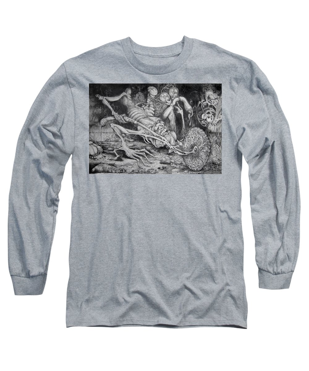Surrealism Long Sleeve T-Shirt featuring the drawing Selfpropelled Beastie Seeder by Otto Rapp