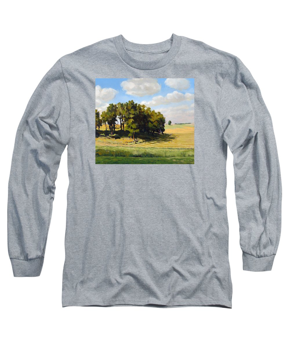 Landscape Long Sleeve T-Shirt featuring the painting September Summer by Bruce Morrison