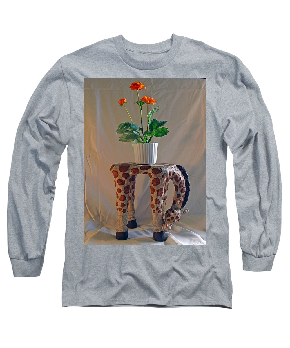 Giraffe; Burden; Flower; Pot; Orange; Artificial; Animal; Stuffed; Ceramic; Statue; Figurine; Figure Long Sleeve T-Shirt featuring the photograph Servant Giraffe by Allan Hughes