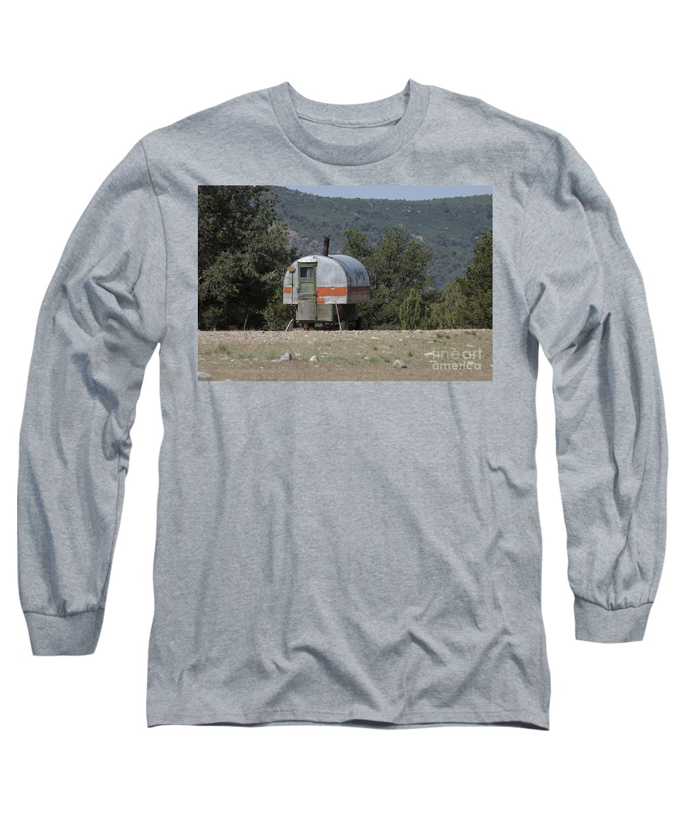 Sheep Long Sleeve T-Shirt featuring the photograph Sheep Herder's Wagon by Jerry McElroy