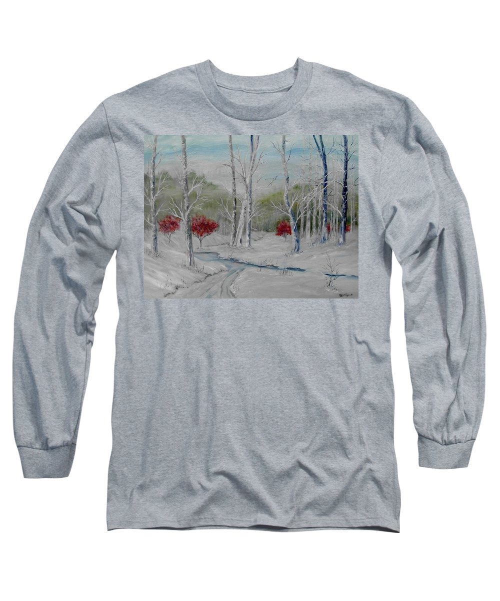 Snow; Winter; Birch Trees Long Sleeve T-Shirt featuring the painting Silence by Ben Kiger
