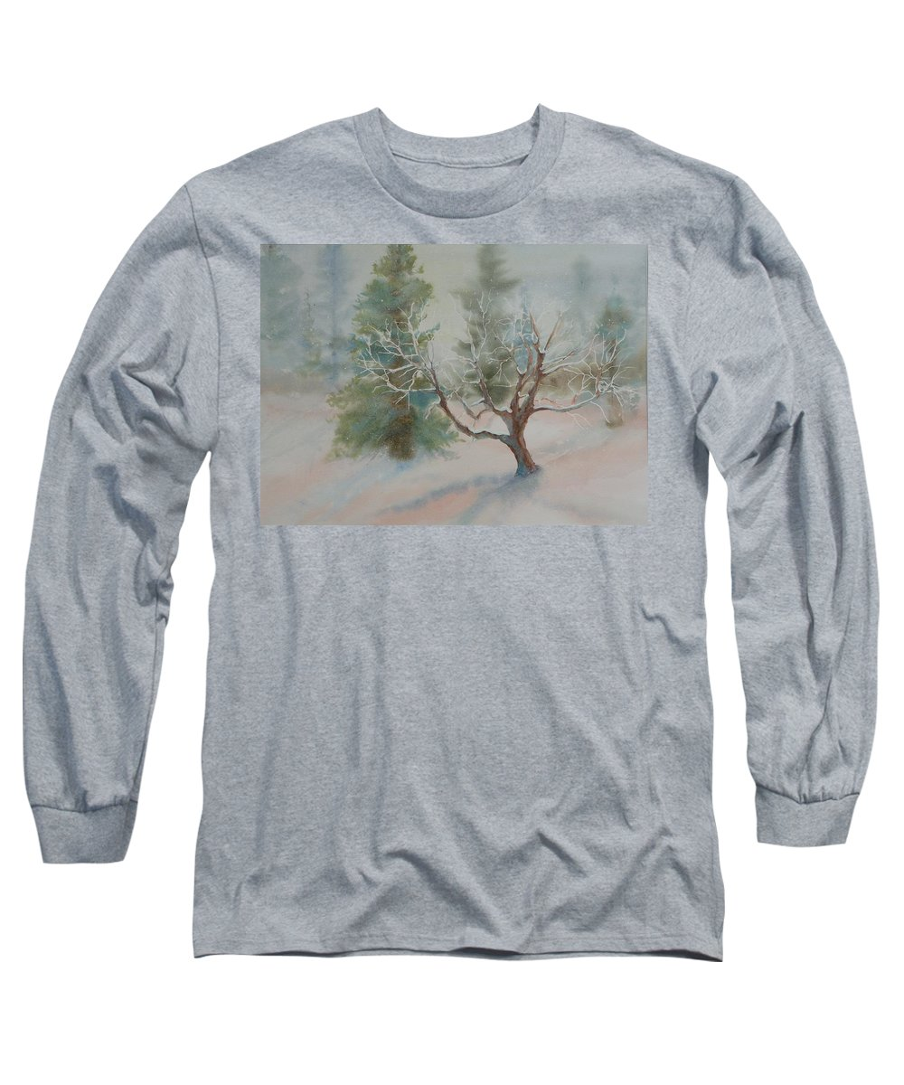 Snow Long Sleeve T-Shirt featuring the painting Silence by Ruth Kamenev