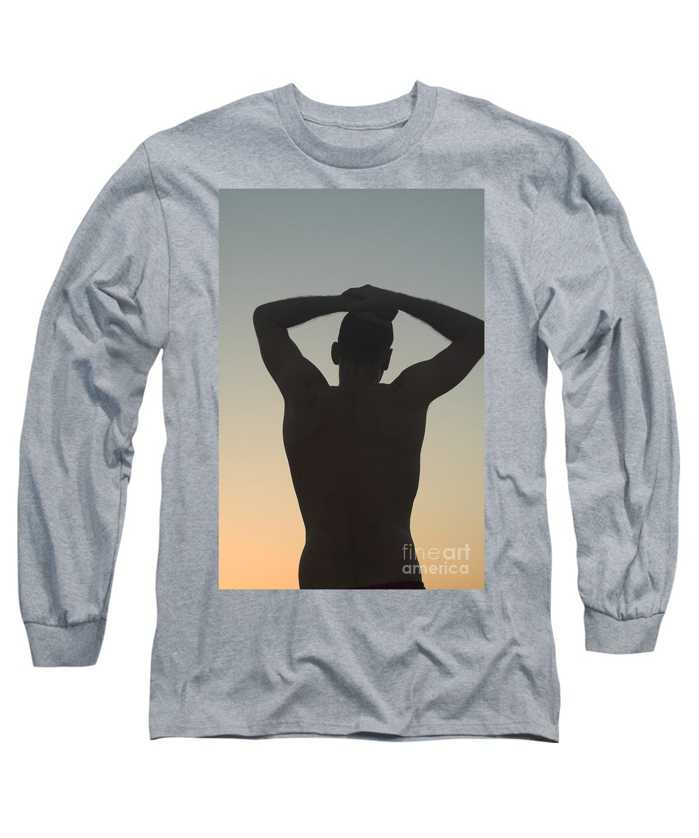 Delight Long Sleeve T-Shirt featuring the photograph Silhouette Of A Man At Sunset by Ilan Rosen