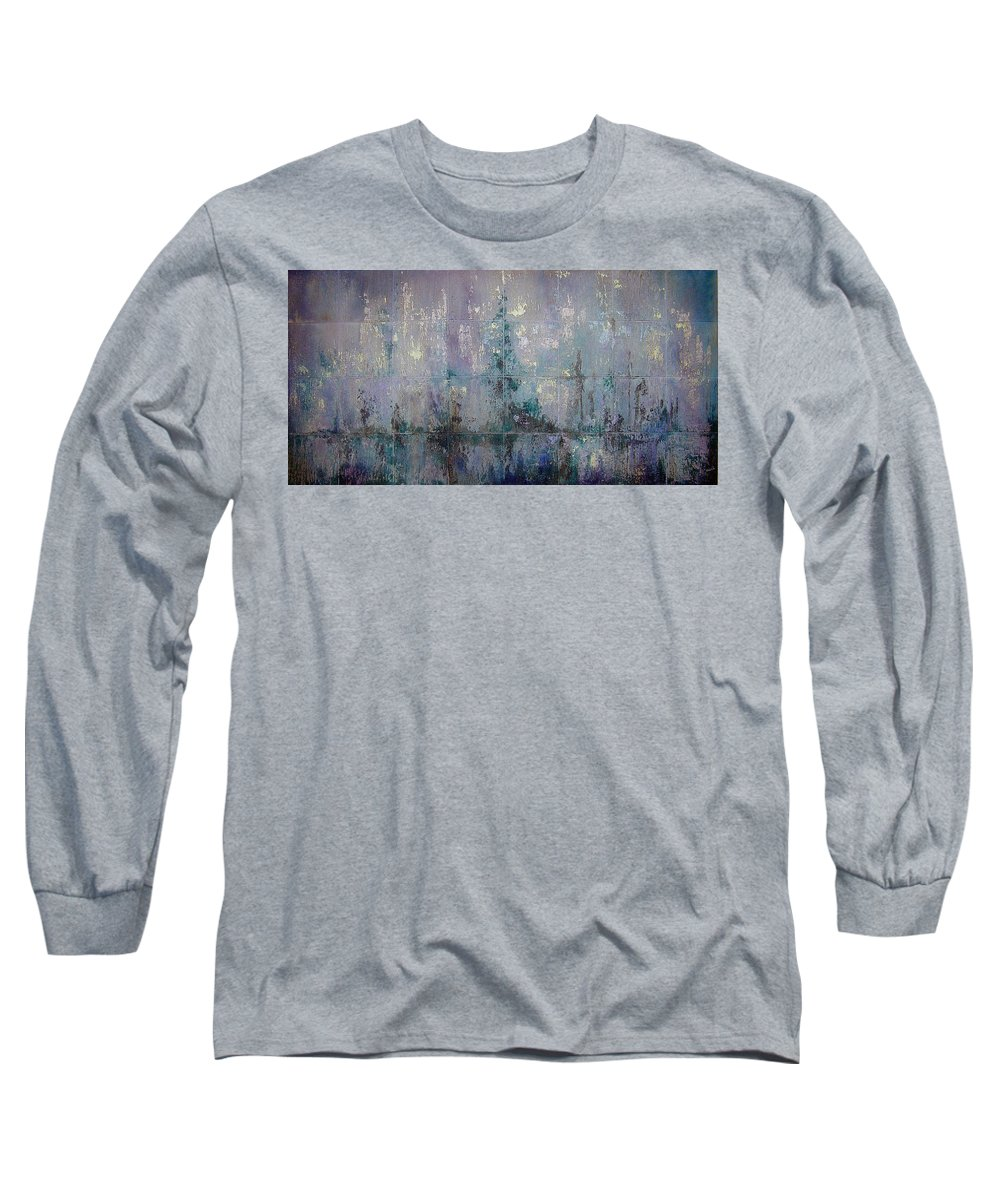 Abstract Long Sleeve T-Shirt featuring the painting Silver And Silent by Shadia Derbyshire