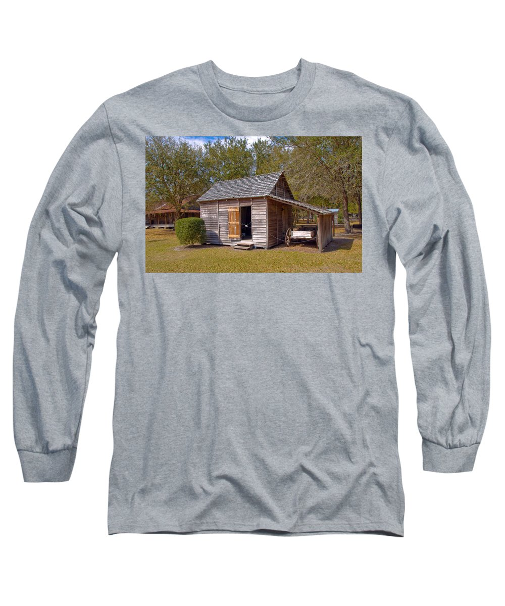 Cabin Long Sleeve T-Shirt featuring the photograph Simmons Cabin Built In 1873 In Orange County Florida by Allan Hughes