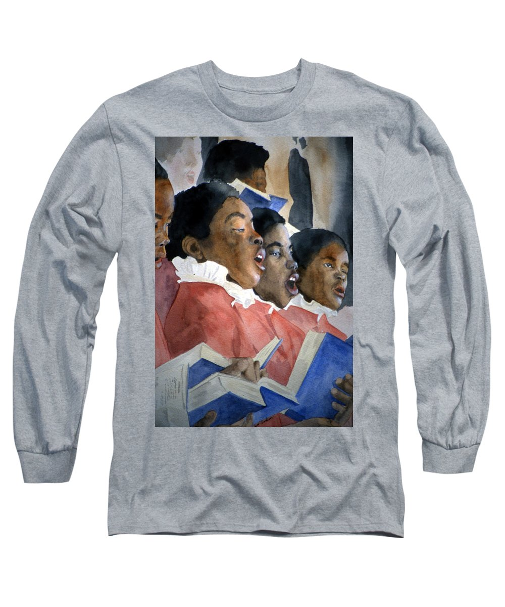 Choir Long Sleeve T-Shirt featuring the painting Sing Out Your Joy by Jean Blackmer