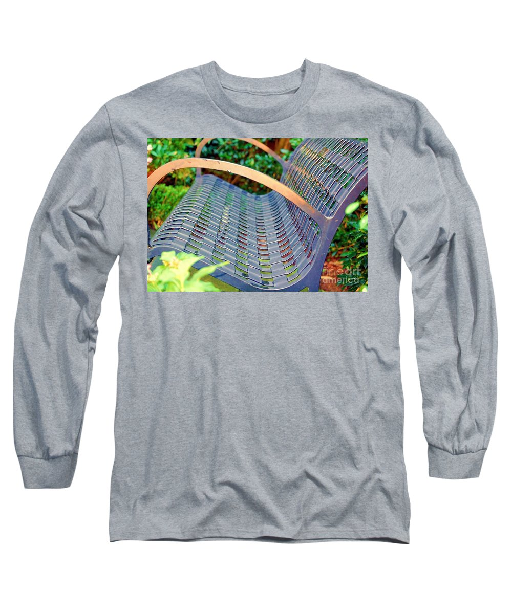 Bench Long Sleeve T-Shirt featuring the photograph Sitting On A Park Bench by Debbi Granruth