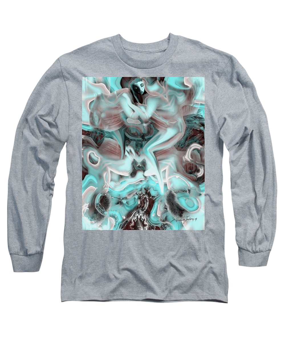 Space Sllep Blue Float Navigate Alien Long Sleeve T-Shirt featuring the digital art Sleeping In My Space Ship by Veronica Jackson
