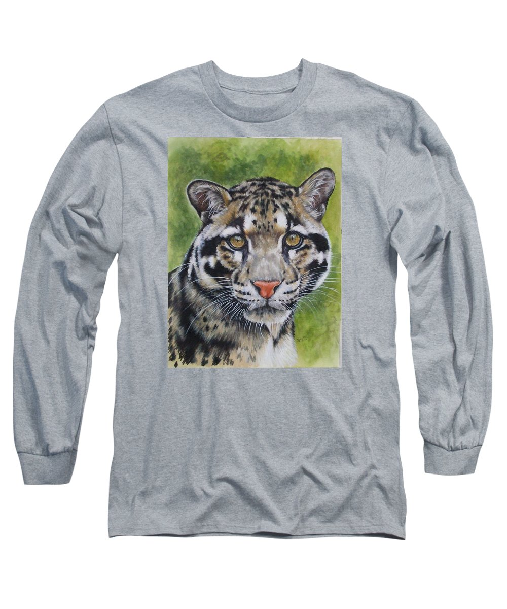 Clouded Leopard Long Sleeve T-Shirt featuring the mixed media Small But Powerful by Barbara Keith