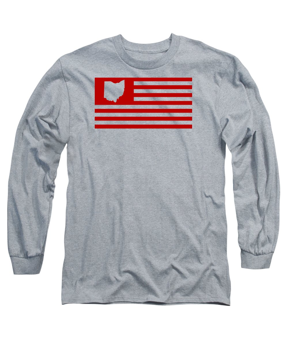Ohio Long Sleeve T-Shirt featuring the digital art State of Ohio - American Flag by War Is Hell Store