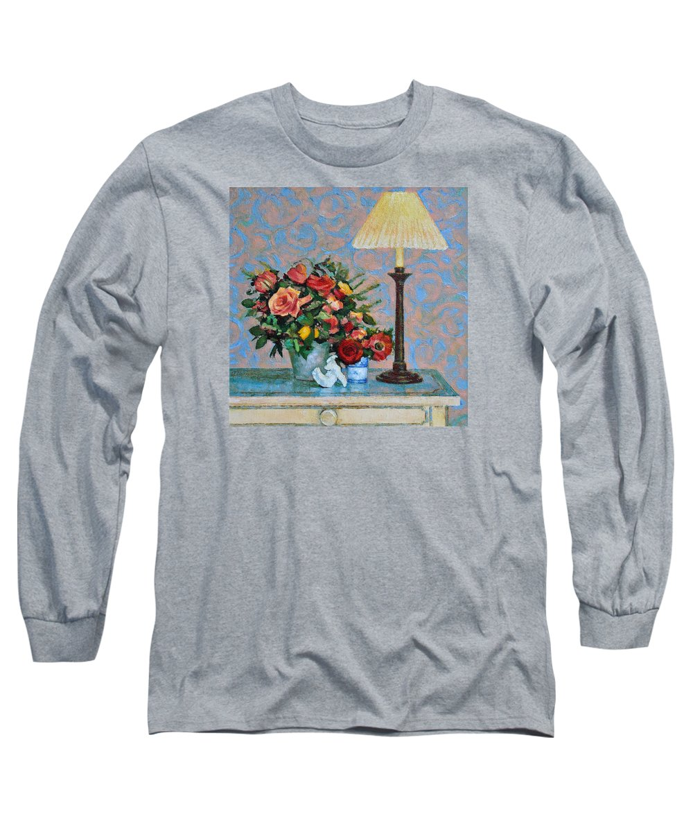Flowers Long Sleeve T-Shirt featuring the painting Still Life With A Lamp by Iliyan Bozhanov