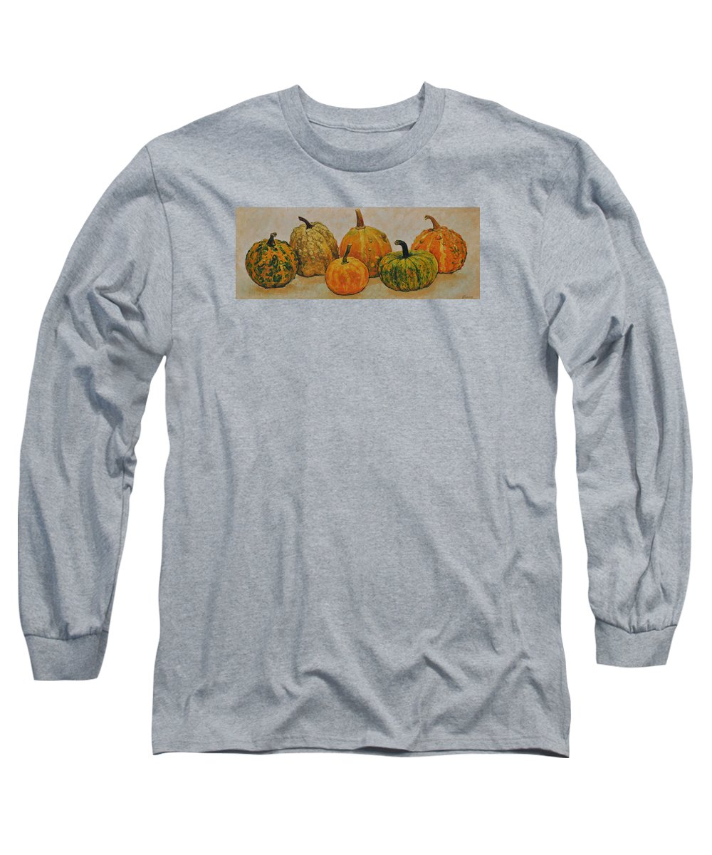 Still Life Long Sleeve T-Shirt featuring the painting Still Life With Pumpkins by Iliyan Bozhanov