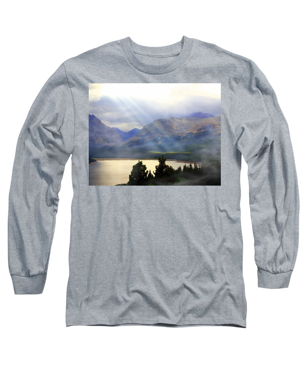 Glacier National Park Long Sleeve T-Shirt featuring the photograph Storms A Coming-lower Two Medicine Lake by Marty Koch