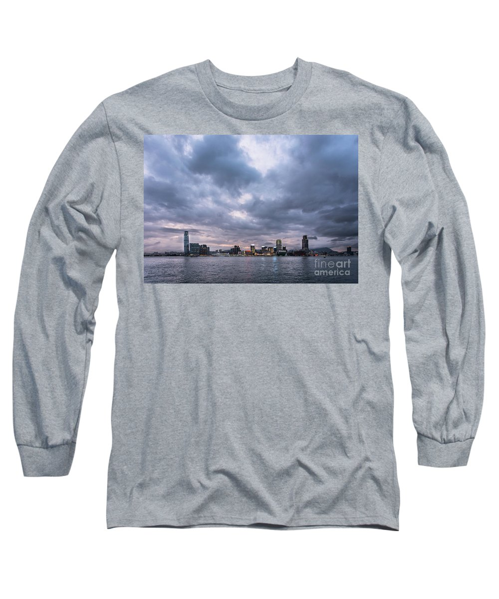 China Long Sleeve T-Shirt featuring the photograph Stunning Sunset Over Kowloon In Hong Kong by Didier Marti