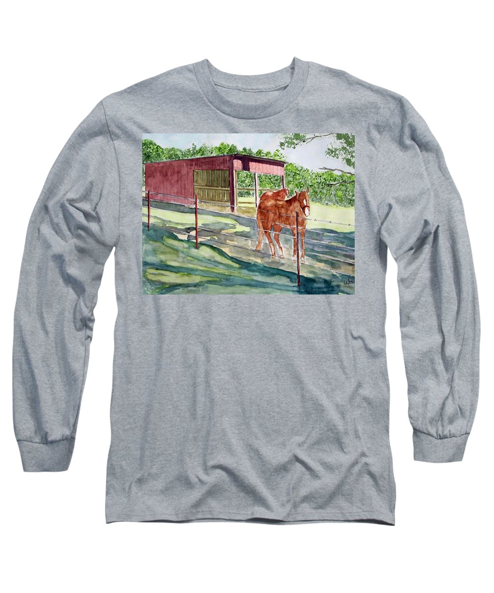 Horse Art Long Sleeve T-Shirt featuring the painting Summer Shade by Larry Wright