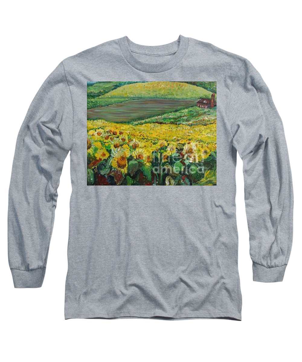 A Field Of Yellow Sunflowers Long Sleeve T-Shirt featuring the painting Sunflowers In Provence by Nadine Rippelmeyer