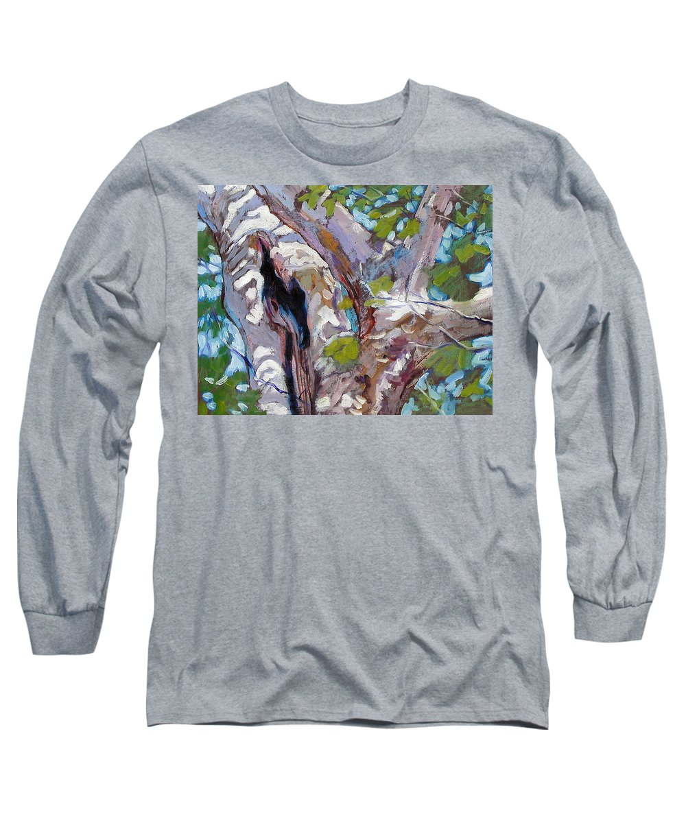 Tree Long Sleeve T-Shirt featuring the painting Sunlight On Sycamore by John Lautermilch