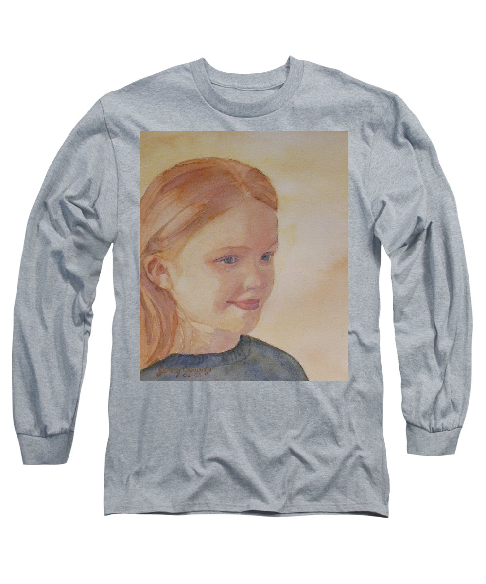 Girl Long Sleeve T-Shirt featuring the painting Sunnie Birdie by Jenny Armitage