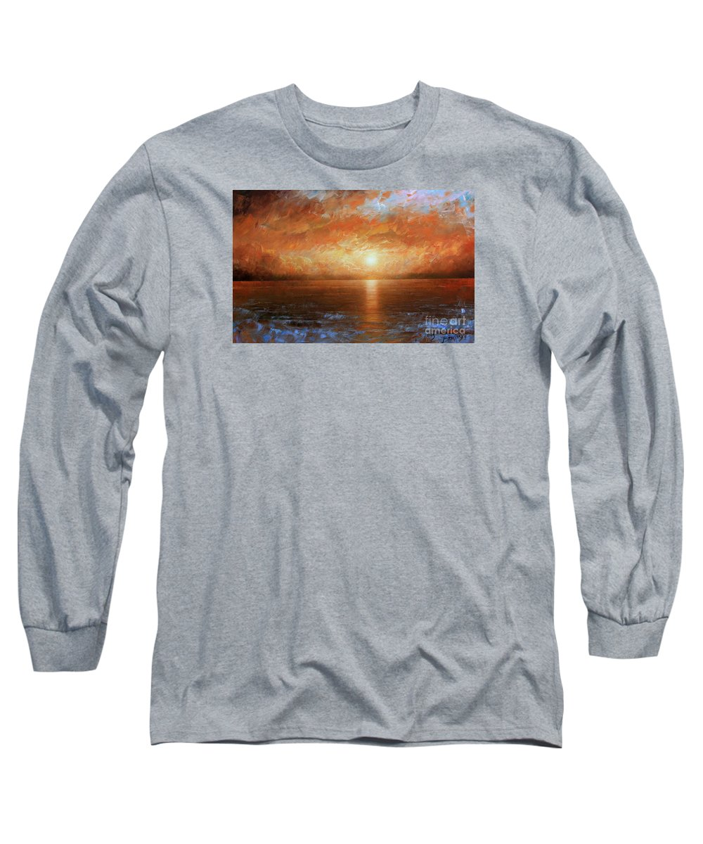 Landscape Long Sleeve T-Shirt featuring the painting Sunset by Arthur Braginsky
