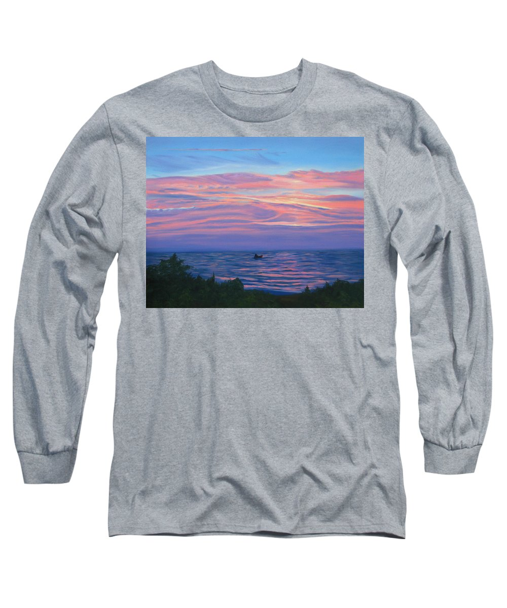 Seascape Long Sleeve T-Shirt featuring the painting Sunset Bay by Lea Novak