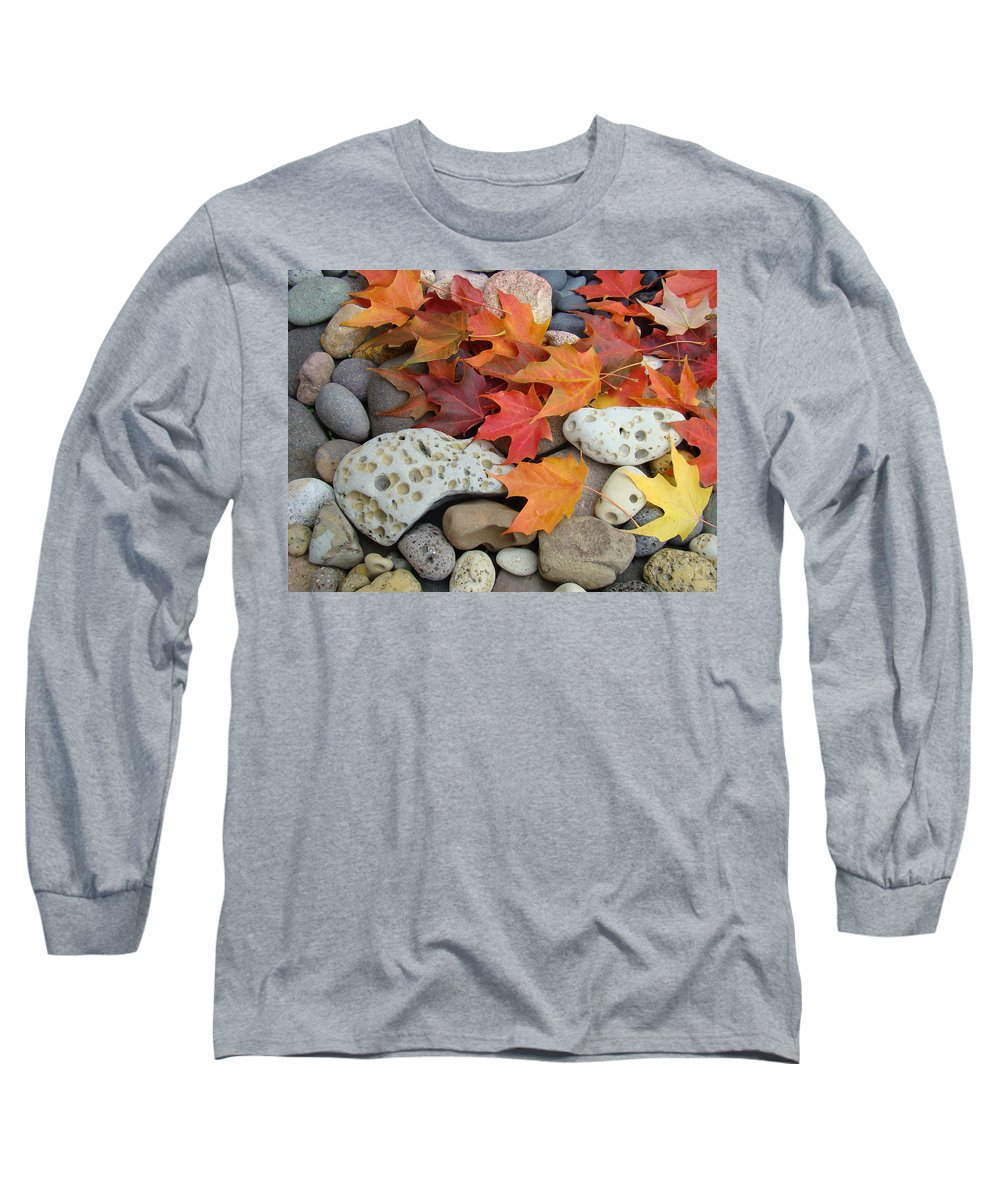 Art Long Sleeve T-Shirt featuring the photograph Sweet Autumn 1 Autumn Leaves Rock Designs Photography Digital Art Prints by Baslee Troutman