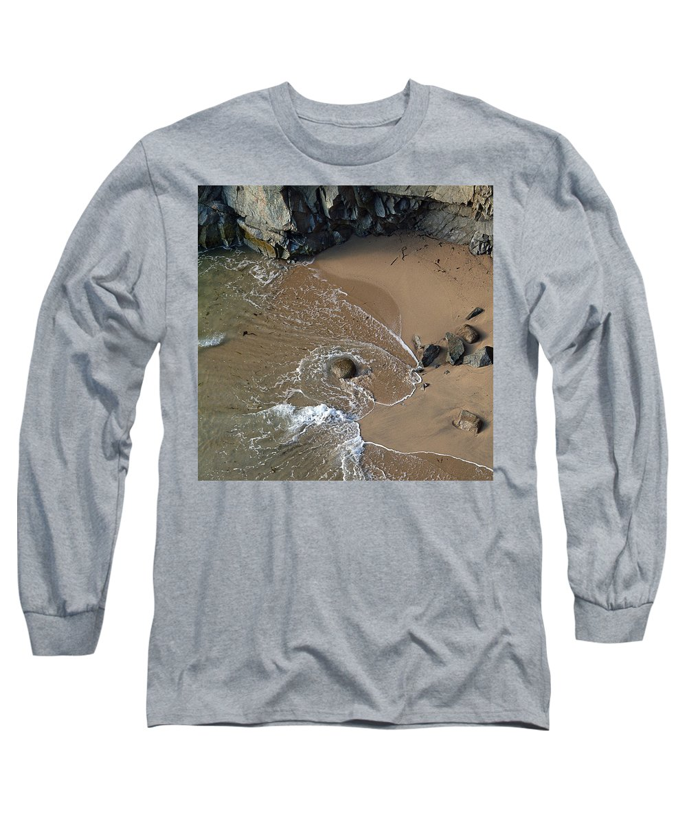 Big Sur Long Sleeve T-Shirt featuring the photograph Swirling Surf And Rocks by Charlene Mitchell