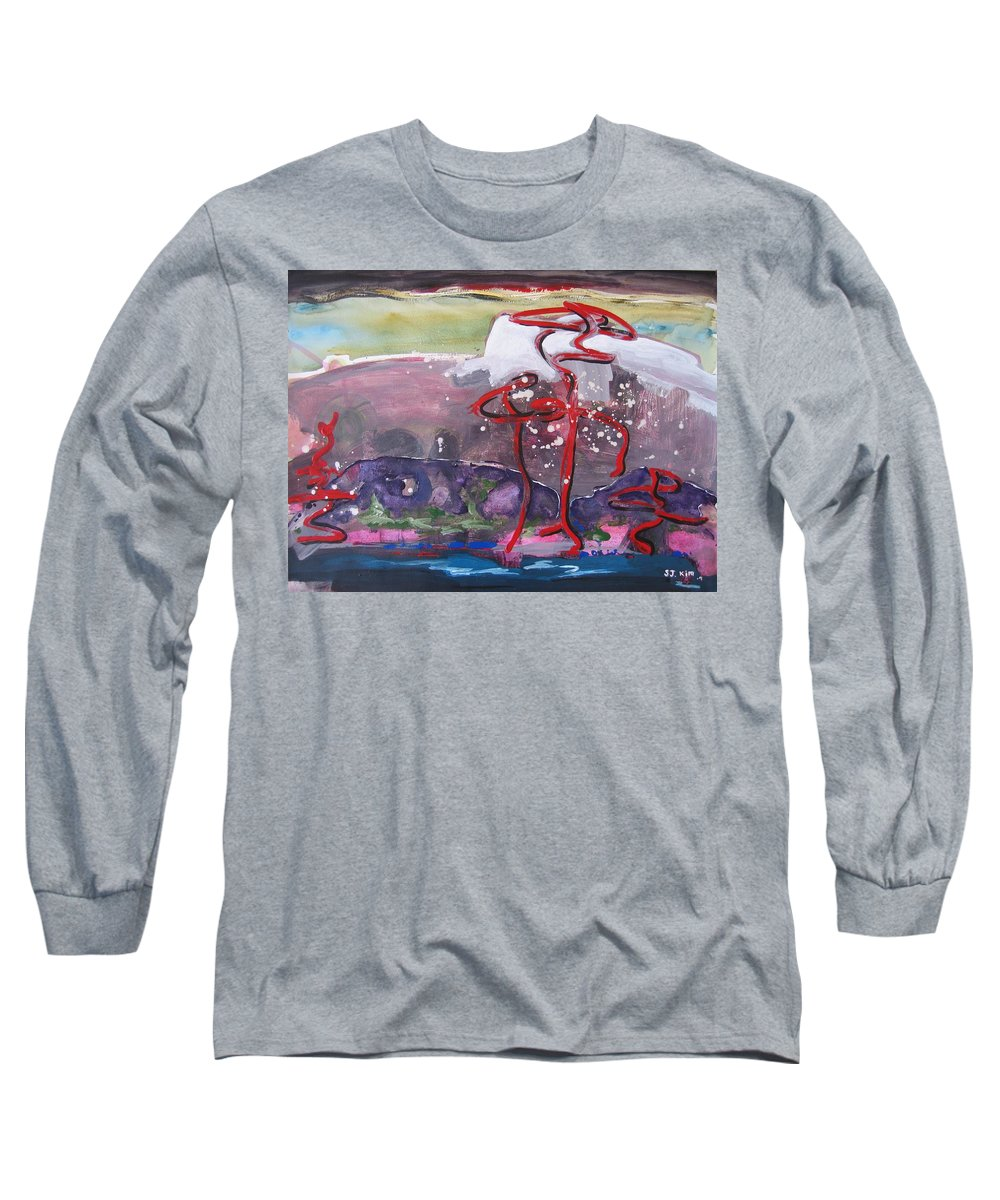 Abstract Paintings Long Sleeve T-Shirt featuring the painting Table Land3 by Seon-Jeong Kim