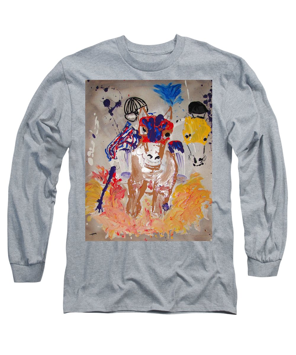 Horse Long Sleeve T-Shirt featuring the mixed media Taking The Lead by J R Seymour