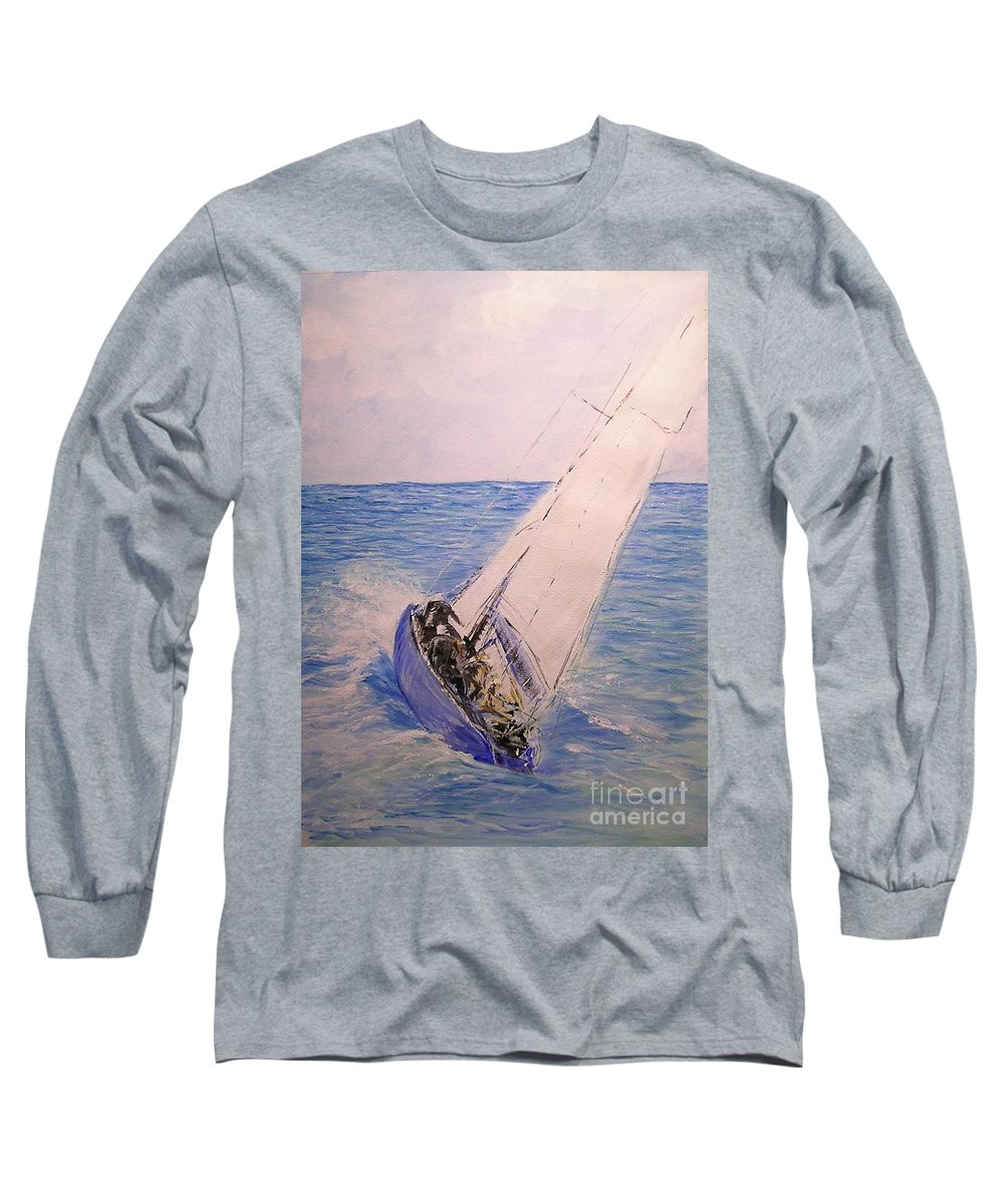 Seascape Long Sleeve T-Shirt featuring the painting Tell Tails In The Wind by Lizzy Forrester