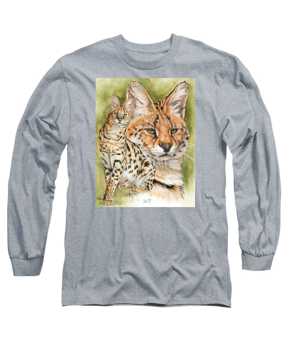 Serval Long Sleeve T-Shirt featuring the mixed media Tempo by Barbara Keith