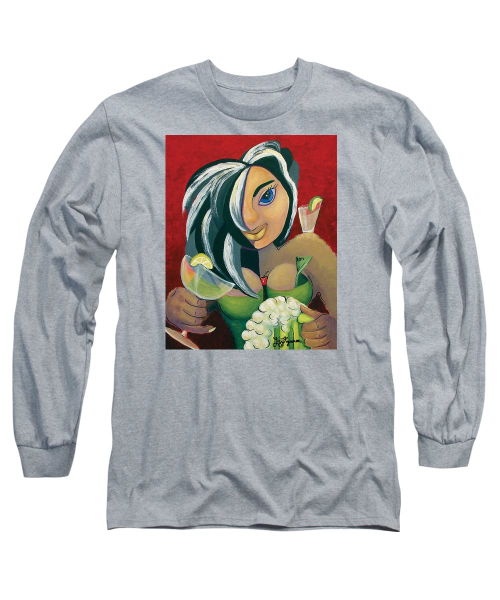 Bar Long Sleeve T-Shirt featuring the painting The Barwaitress by Elizabeth Lisy Figueroa