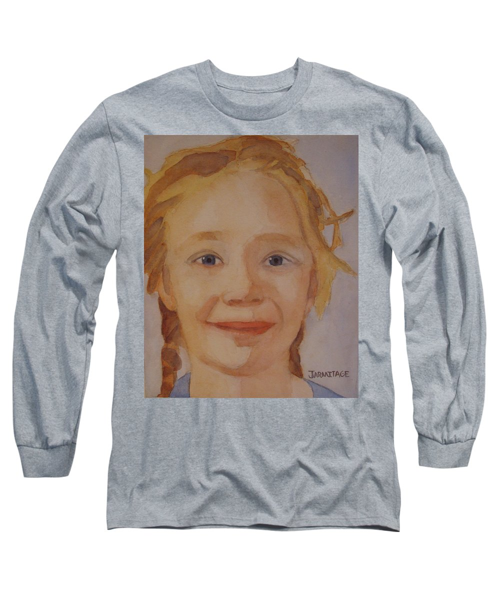 Partrait Long Sleeve T-Shirt featuring the painting The Blue-eyed Duckling by Jenny Armitage